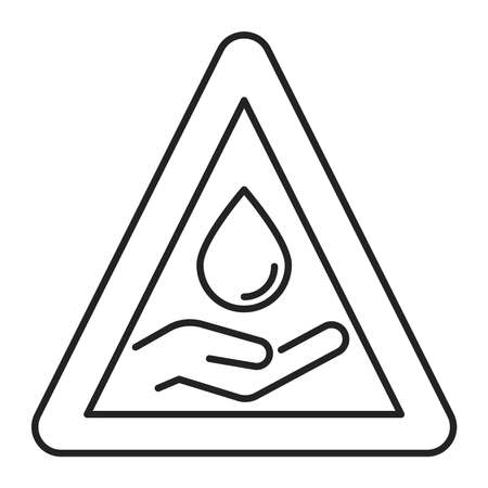 Water scarcity black line icon. Ecological disaster. Isolated vector element. Outline pictogram for web page, mobile app, promo. Ilustracja