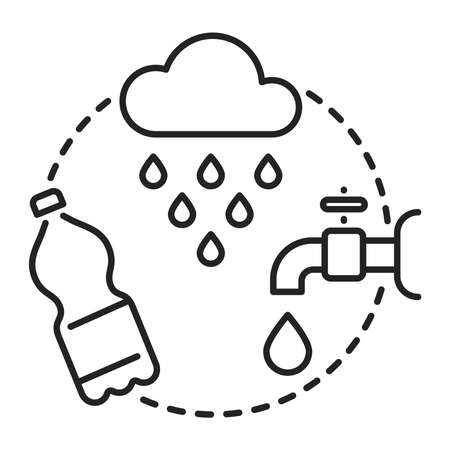 Water resources line black icon. Green energy sign. Water management. Isolated vector element. Outline pictogram for web page, mobile app, promo.