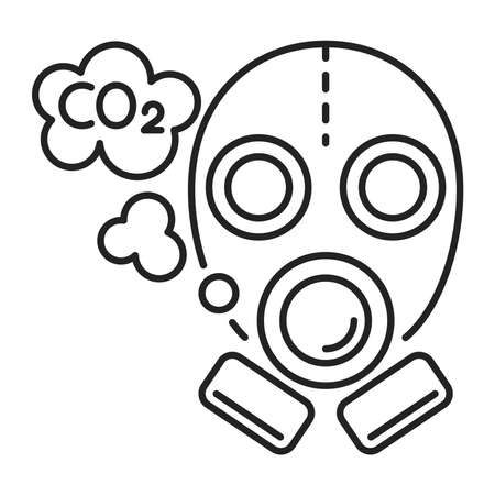 Carbon footprint black line icon. Air pollution. Eco problems. Isolated vector element. Outline pictogram for web page, mobile app, promo. Vector illustration. Vector illustration Ilustracja