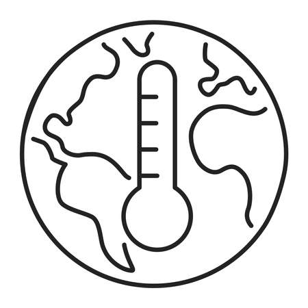 Climate change black line icon. Eco problems. Isolated vector element. Outline pictogram for web page, mobile app, promo. Vector illustration.