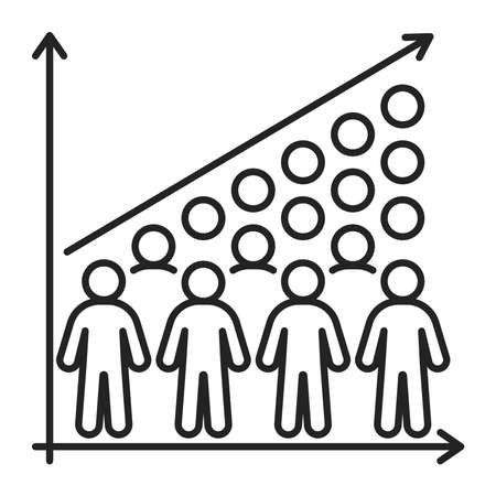 Overpopulation black line icon. Eco problems. Isolated vector element. Outline pictogram for web page, mobile app, promo