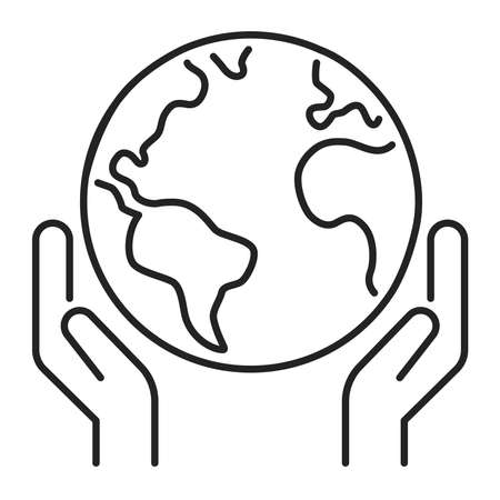 Save planet black line icon. Eco friendly. Earth day symbol. Environment care. Isolated vector element. Outline pictogram for web page, mobile app, promo Ilustracja