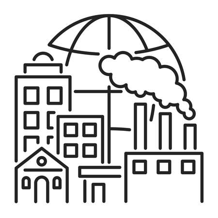 Urban sprawl black line icon. Urbanization. Expansion of megalopolises. Isolated vector element. Outline pictogram for web page, mobile app, promo