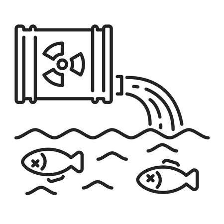Water pollution black line icon. Eco problems. Isolated vector element. Outline pictogram for web page, mobile app, promo