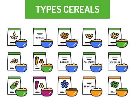 Types cereals color line icons set. Healthy, organic food. Proper nutrition. Isolated vector element. Outline pictograms for web page, mobile app, promo. Ilustracja