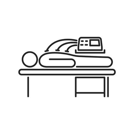 Electrotherapy line black icon. Physiotherapy, acupuncture, rehabilitation. Isolated vector element. Outline pictogram for web page, mobile app, promo.