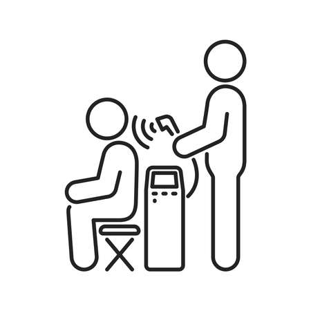 Magnetotherapy line black icon. Physiotherapy, acupuncture, rehabilitation. Isolated vector element. Outline pictogram for web page, mobile app, promo.