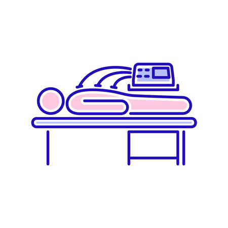 Electrotherapy line color icon. Physiotherapy, acupuncture, rehabilitation. Isolated vector element. Outline pictogram for web page, mobile app, promo. Ilustracja
