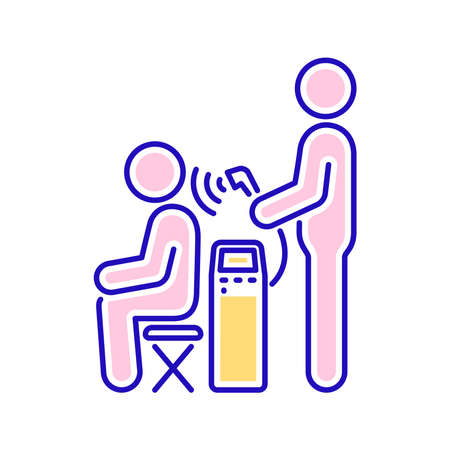 Magnetotherapy line color icon. Physiotherapy, acupuncture, rehabilitation. Isolated vector element. Outline pictogram for web page, mobile app, promo. Ilustracja