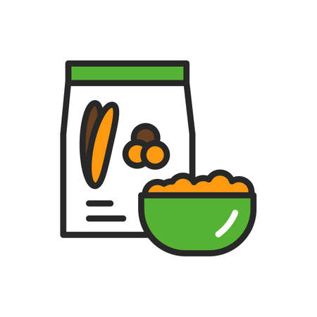 Chumiz package and bowl of porridge color line icon. Healthy, organic food. Proper nutrition. Isolated vector element. Outline pictogram for web page, mobile app, promo
