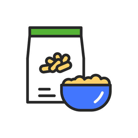 Rice package and bowl of porridge color line icon. Healthy, organic food. Proper nutrition. Isolated vector element. Outline pictogram for web page, mobile app, promo Ilustracja