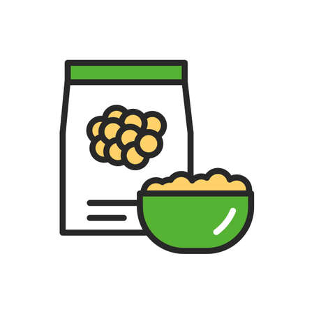 Soy, hummus or couscous package and bowl of porridge color line icon. Healthy, organic food. Proper nutrition. Isolated vector element. Outline pictogram for web page, mobile app, promo Ilustracja
