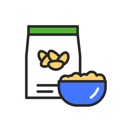Beans package and bowl of porridge color line icon. Healthy, organic food. Proper nutrition. Isolated vector element. Outline pictogram for web page, mobile app, promo