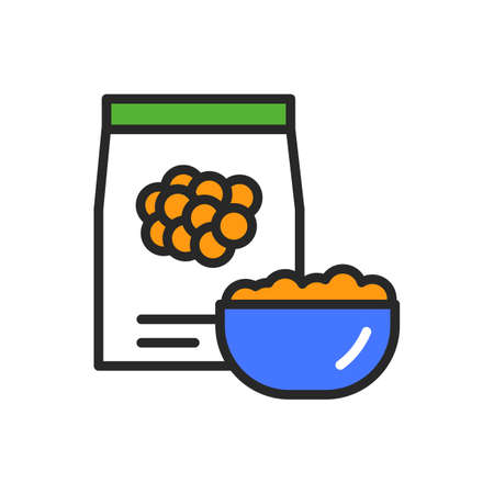 Lentils package and bowl of porridge color line icon. Healthy, organic food. Proper nutrition. Isolated vector element. Outline pictogram for web page, mobile app, promo