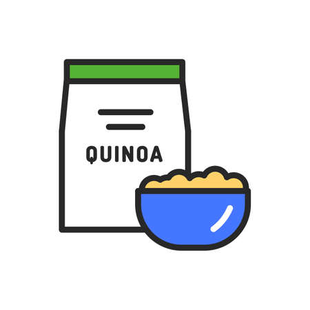Quinoa package and bowl of porridge color line icon. Healthy, organic food. Proper nutrition. Isolated vector element. Outline pictogram for web page, mobile app, promo Ilustracja