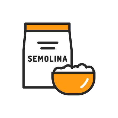 Semolina package and bowl of porridge color line icon. Healthy, organic food. Proper nutrition. Isolated vector element. Outline pictogram for web page, mobile app, promo