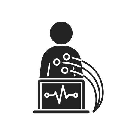 Electrocardiogram black glyph icon. Medical device for checking the patient's heart condition.Outline pictogram for web page, mobile app, promo.