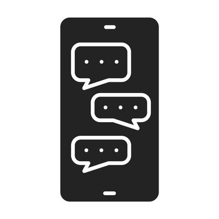 Chatting on smartphone screen black glyph icon. Internet communication. Home leisure. Isolated vector element 일러스트