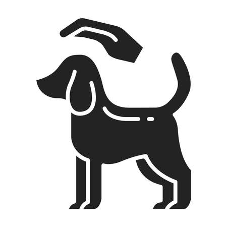 Dog care black glyph icon. Pet play. Home leisure. Isolated vector element.