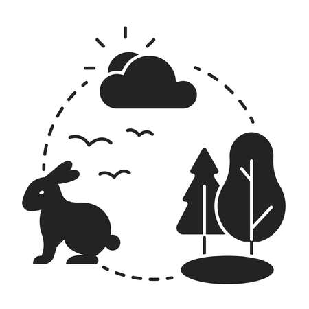 Ecosystem black glyph icon. Sustainable biodiversity and animal friendly environment. Isolated vector element. Pictogram for web page, mobile app, promo