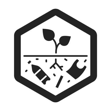 Land degradation black glyph icon. Ecological disaster. Isolated vector element. Outline pictogram for web page, mobile app, promo. Vector illustration Vektorgrafik