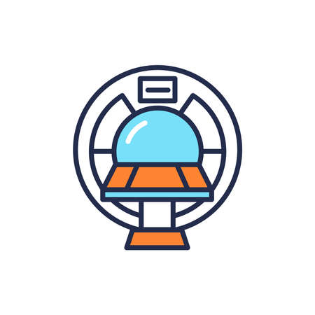 MRI machine scan device in hospital color line icon. Health care. Isolated vector element. Outline pictogram for web page, mobile app, promo. Vettoriali