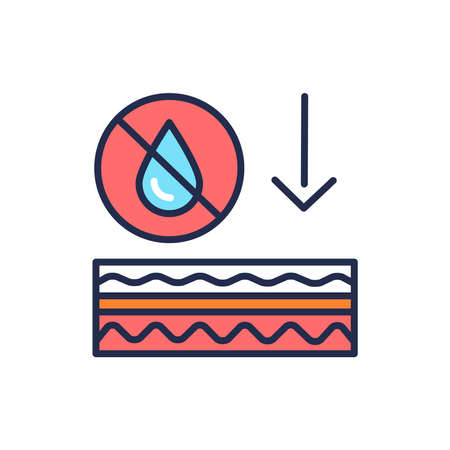 Skin dehydration color line icon. Skin layer. Outline pictogram for web page, mobile app, promo.  イラスト・ベクター素材