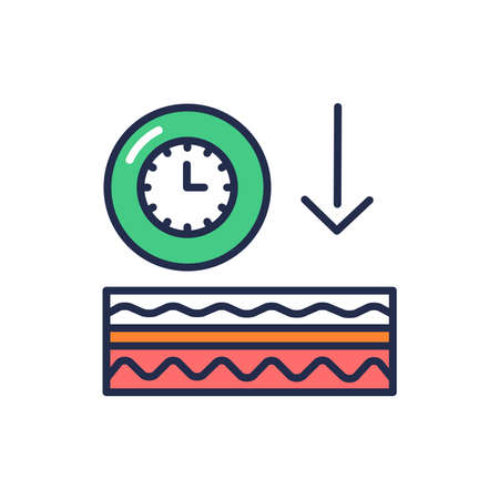 Appearance of wrinkles color line icon. Skin layer. Outline pictogram for web page, mobile app, promo.