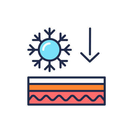 Frostbite of the skin color line icon. Skin layer. Outline pictogram for web page, mobile app, promo.