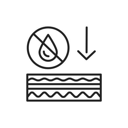 Skin dehydration black line icon. Skin layer.  イラスト・ベクター素材