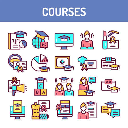Courses training color line icons set. Vector illustration