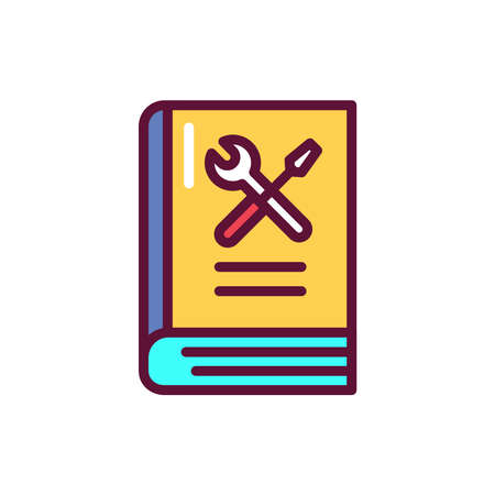 Repair knowledge book color line icon. Outline pictogram for web page, mobile app, promo