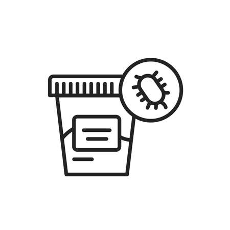 Fecal analysis black line icon. Laboratory diagnostics. Outline pictogram for web page, mobile app, promo. Vector illustration Vettoriali