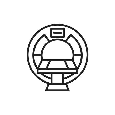 MRI machine scan device in hospital black line icon. Health care. Isolated vector element. Outline pictogram for web page, mobile app, promo. Vector illustration