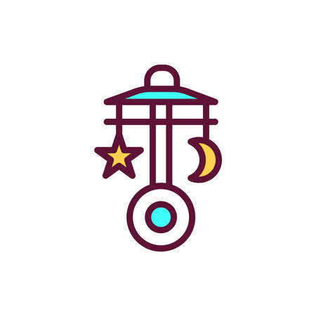 Baby crib carousel color line icon. Isolated vector element. Outline pictogram for web page, mobile app, promo