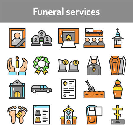 Funeral services color line icons set. Isolated vector element. Outline pictograms for web page, mobile app, promo Illusztráció