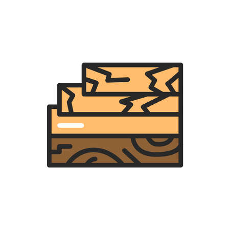 Wood and wood materials color line icon. Pictogram for web page, mobile app, promo. Editable stroke.