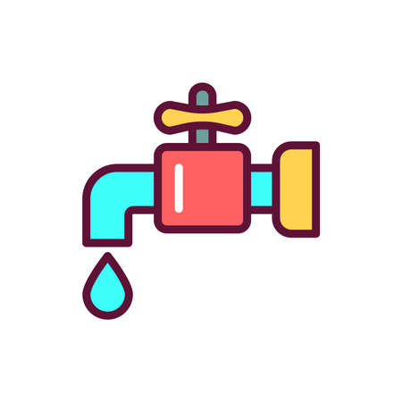 Plumbing color line icon. Isolated vector element. Outline pictogram for web page, mobile app, promo Illustration
