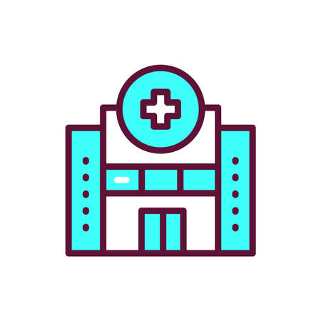 Hospital color line icon. Isolated vector element.