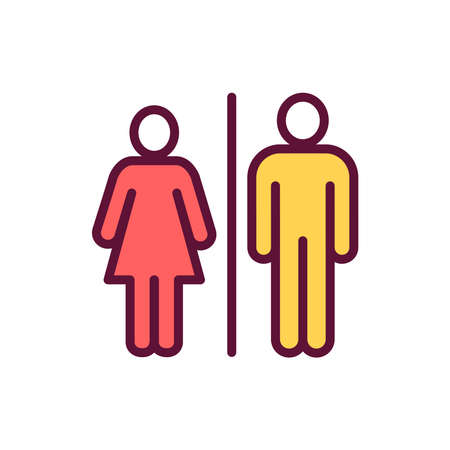 Bathroom color line icon. Isolated vector element.