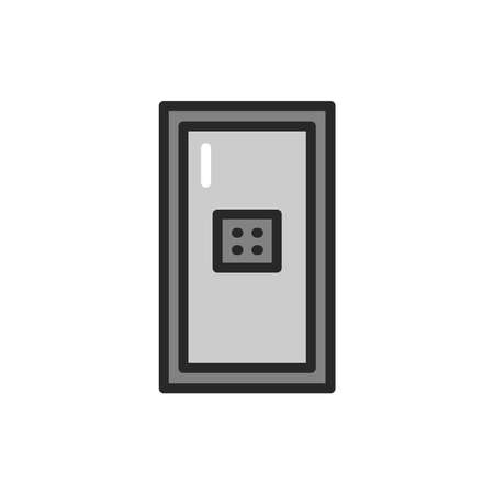 View closed entrance doors on code color line icon. Isolated vector element.  イラスト・ベクター素材