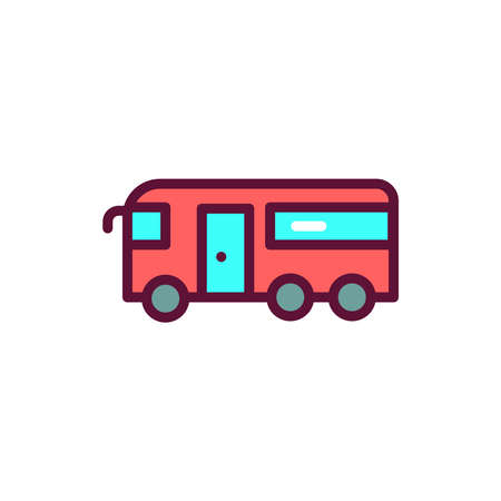 Public transport color line icon. Isolated vector element.