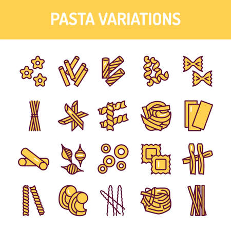 Original italian pasta variations color line icons set. Isolated vector element. Outline pictograms for web page, Vettoriali