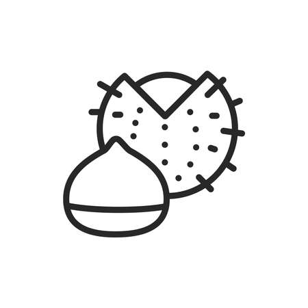 Chest nut black line icon. Isolated vector element. Outline pictogram for web page, mobile app, promo.