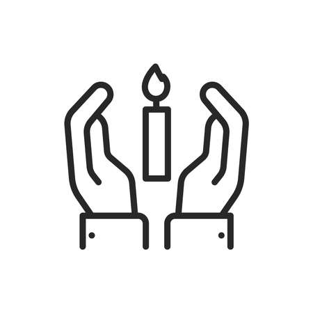 Hands holding condolence candle color line icon. Isolated vector element.