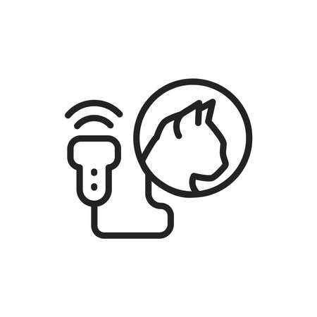 Animal ultrasonic diagnostic system black line icon. Medical and scientific concept. Isolated vector element. Outline pictogram for web page, mobile app, promo