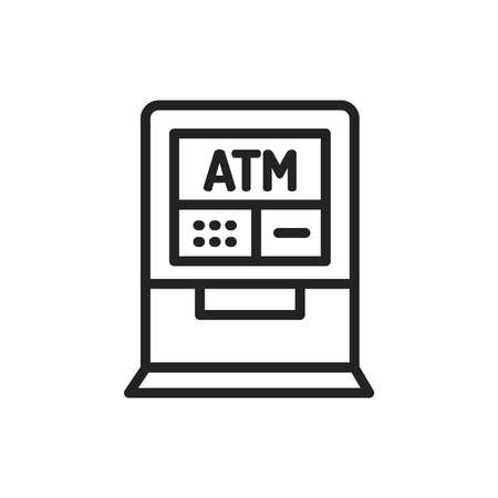 ATM color line icon. Isolated vector element.