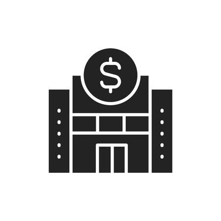 Bank building color line icon. Isolated vector element.