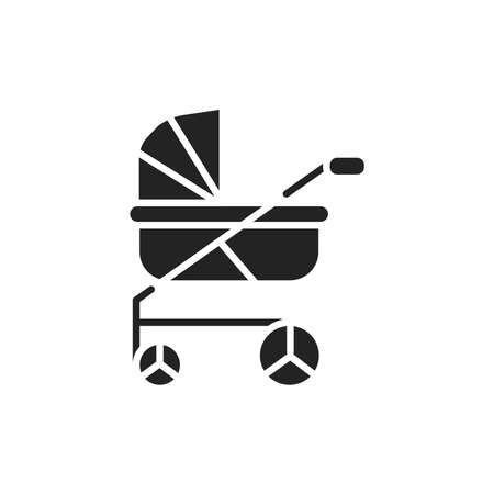 Baby carriage color line icon. Isolated vector element. Vecteurs