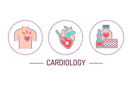 Cardiology color line icons concept. Isolated vector element. Vektorgrafik
